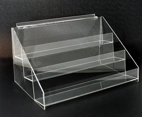 4 tier acrylic brochure leaflet display organizer stand