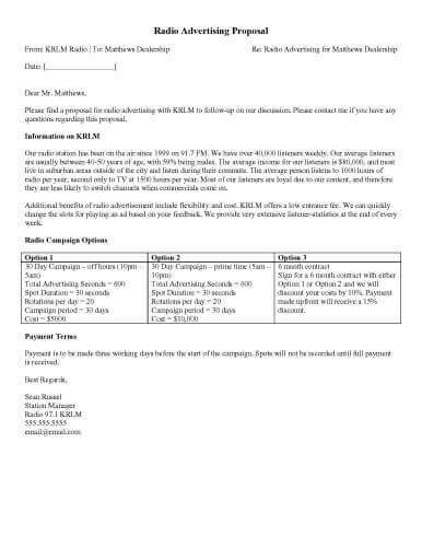 bid up tv sle letter for radio program cover letter
