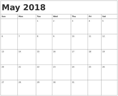 may template april 2018 printable calendar