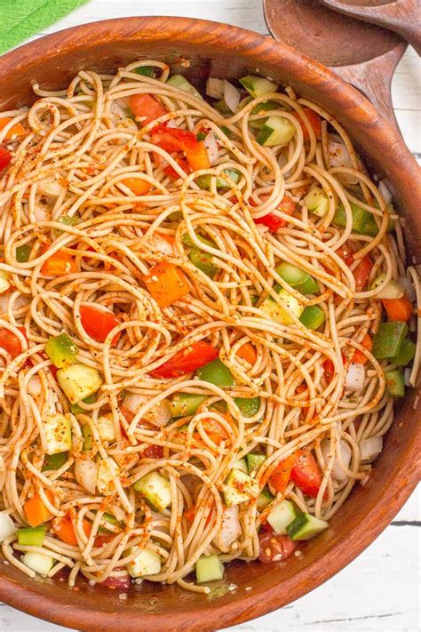 pasta salad with spaghetti noodles classic spaghetti salad family food on the table