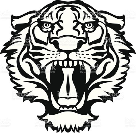 tiger blackwhite tattoo stock vector art 158210527 istock