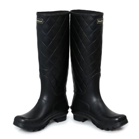 barbour setter black womens wellington knee high boots