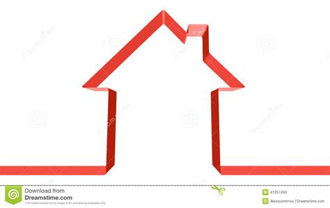 shape of house red ribbon in the shape of house stock illustration