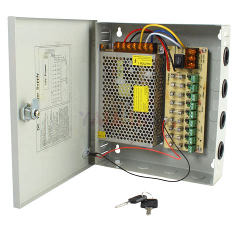 Power Supply Cctv Central Box 12v 30a 18 Way Sekring With Fan 9 port 12v dc power supply distribution box 10