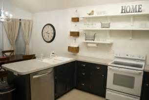 ordinary Open Shelving In Kitchen #1: kitchen-remodel-black-base-cabinets-bead-baord-backsplash-open-shelves-dining-room-makeover-2-600x401.jpg