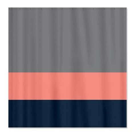 custom color block shower curtain titanium grey coral navy