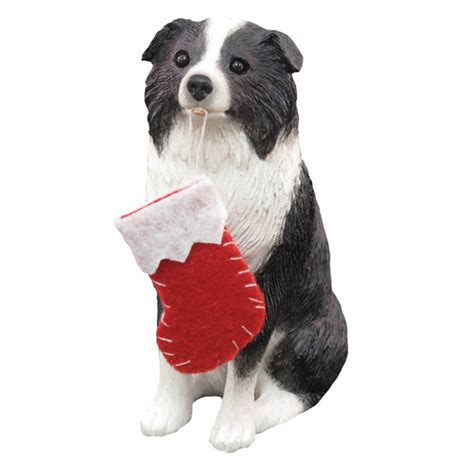 border collie with stocking christmas ornament at baxterboo