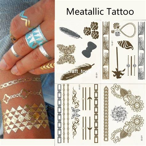 newly fashion design metallic tattoo gold silver