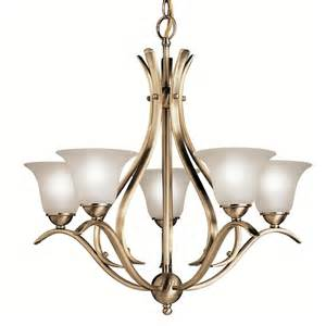 Antique Brass Chandeliers Shop Portfolio Dover 5 Light Antique Brass Chandelier At Lowes
