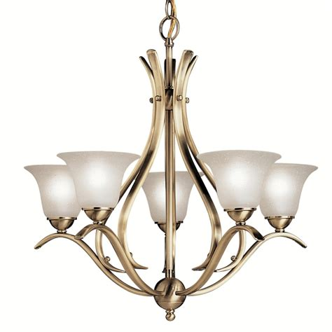 Shop Portfolio Dover 5 Light Antique Brass Chandelier At Lowes Chandelier Lighting