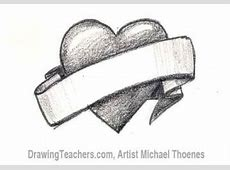 How to Draw a Heart with Banner Easy Drawings Of Hearts With Ribbons
