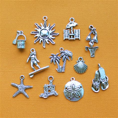 charm collection antique silver tone 11 different charms