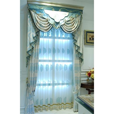 blue pattern valance blue damask jacquard linen luxury bedroom curtains