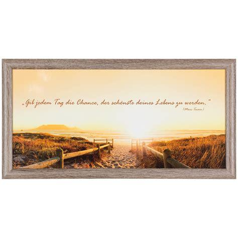 strand thema wohnzimmer bild wandbild kunstdruck 23x49 spruch sonnenaufgang