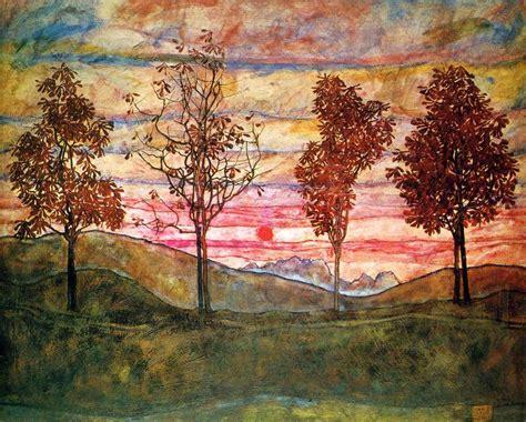 Egon Schiele Four Trees 1917 Sun Egon Schiele