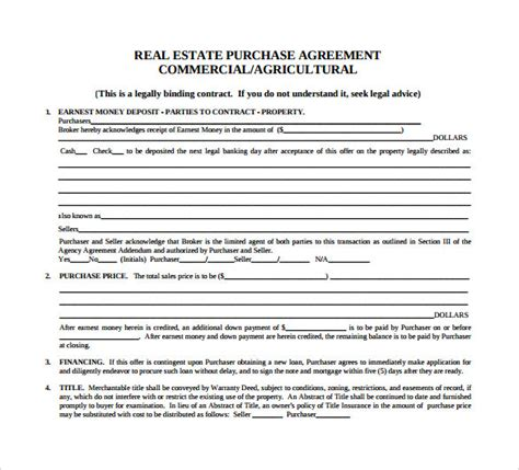 commercial agreement template sle real estate purchase agreement 7 exles format