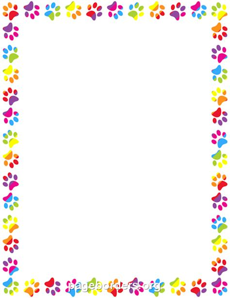 Paw Print Page Border Clip by Rainbow Border Clipart 59