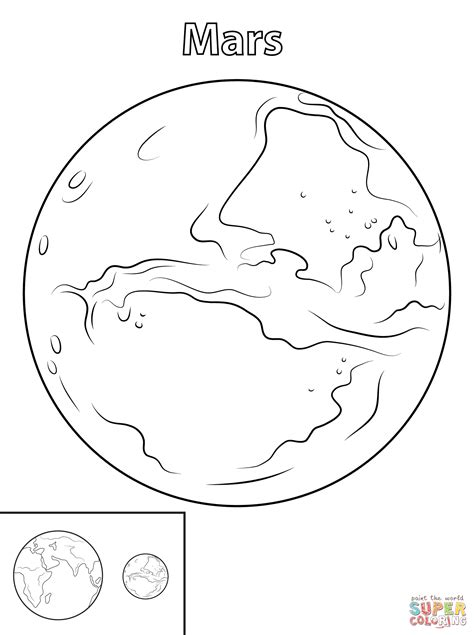 planet mars drawing coloring page 2 pics about space