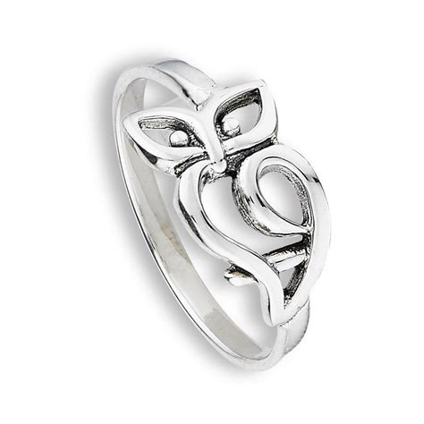 sterling silver owl outline fashion ring jewelry 925