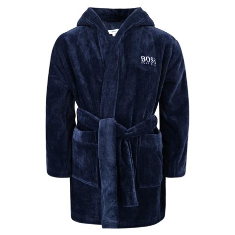 boss boys navy hooded bathrobe with embroidered logo