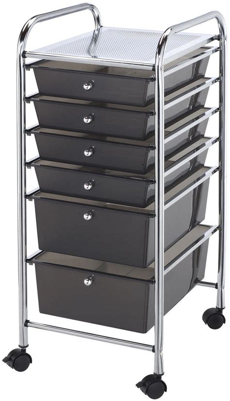 Makeup Storage Drawers On Wheels 6 Drawer Steel Storage Rolling Cart Organizer Rack Metal