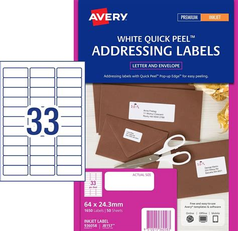 Inkjet Labels 33 Per Sheet J8157 White Permanent Avery 936058 Box 50 Not 33 Label Template