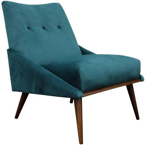 Modern Chair | peacock velvet mid century modern chair at 1stdibs