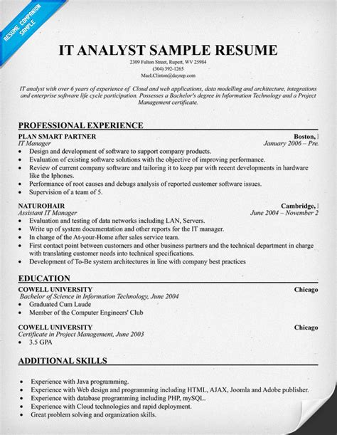 it security analyst resume sle analyst resume sle 28 images financial analyst resume