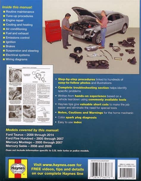 online auto repair manual 2009 mercury sable navigation system ford taurus repair manual 2005 2014 five hundred sable