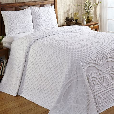 chenille coverlet trevor white or ivory lightweight cotton chenille