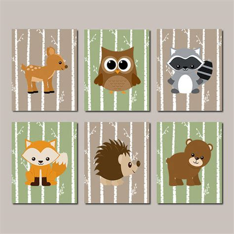 Woodland Animal Nursery Decor Woodland Nursery Woodland Animals Wall From Lovelyfacedesigns On