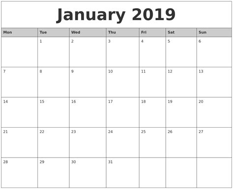 printable monthly calendar starting monday january 2019 monthly calendar printable
