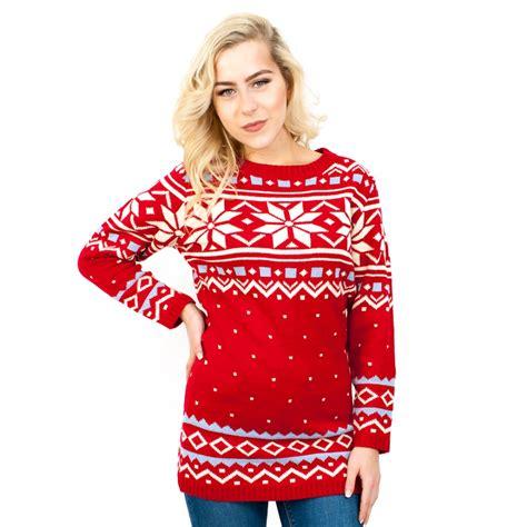 snowflake pattern jumper c3101 rd ladies christmas jumper with snowflake pattern red