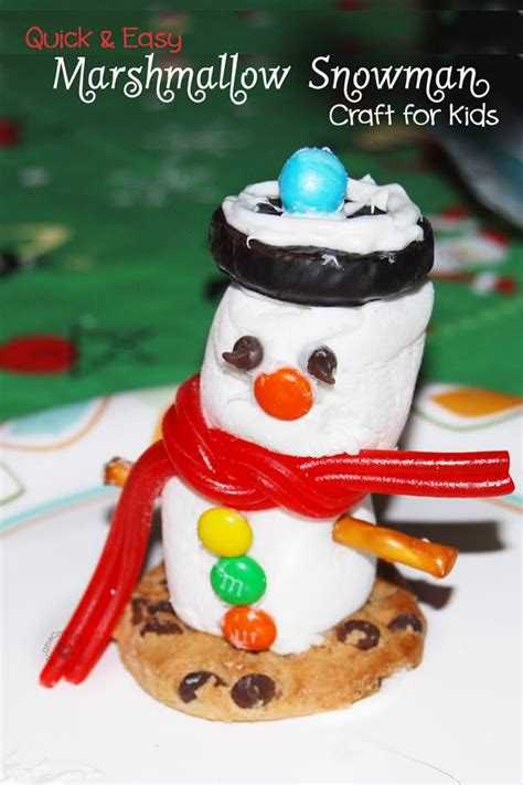 simple craft for christamas celebrationo and easy marshmallow snowman craft for onecreativemommy