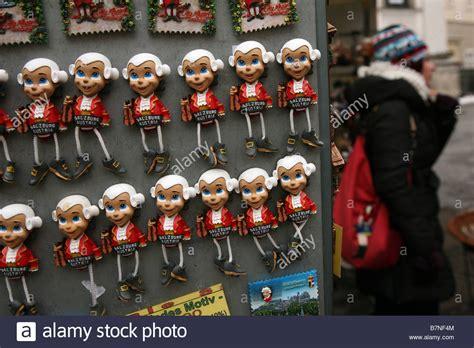 Magnet Jam Austria Souvenirs mozart fridge magnet souvenirs in a souvenir shop in the historic stock photo royalty free