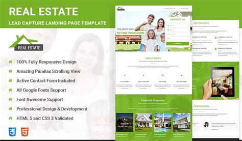 Best Real Estate Html5 Responsive Landing Page Template Olanding Real Estate Page Template