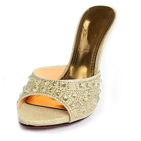 high heel mule shoes glitter rhinestone high heeled mules swh11079