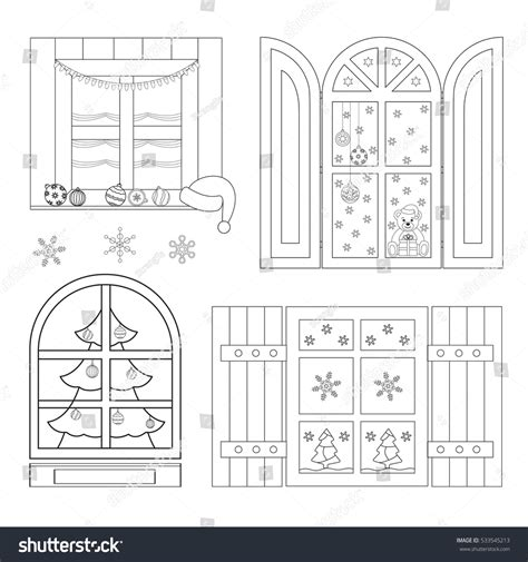 coloring book for windows set coloring windows coloring book stock vector
