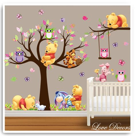 Winnie The Pooh Nursery Wall Decals Winnie The Pooh Wall Stickers Owl Animal Nursery Baby Room Tree Decals Baby Room