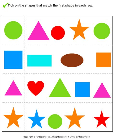 printable shapes matching game match the shape 1 worksheet turtlediary com