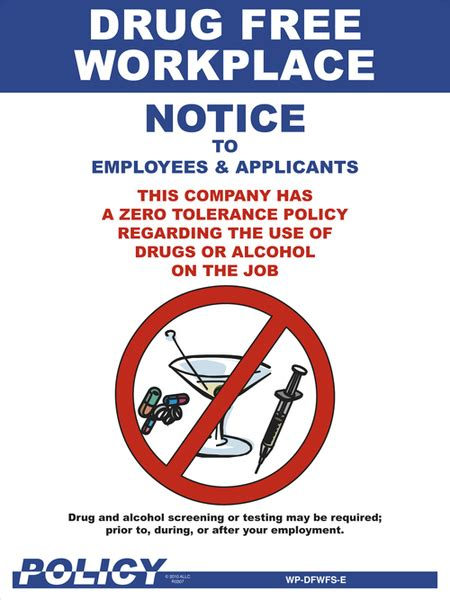 Drug Free Workplace Poster Workplace Safety Posters Zero Tolerance Policy In The Workplace Template