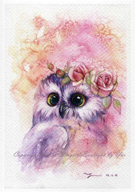water color owl print sweetie owl watercolor painting 7 5 x 11