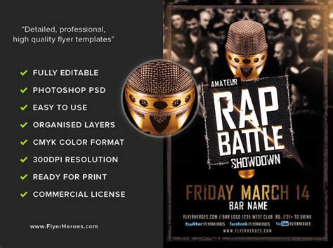 rap template rap battle showdown flyer template flyerheroes