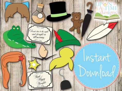pirate photobooth props printable instant download instant download peter pan photo booth props printable