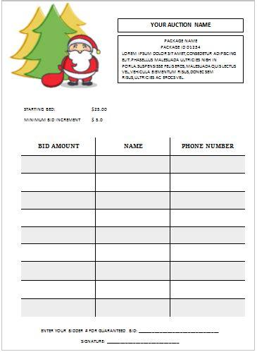 bid free silent auction bid sheet templates in word printable