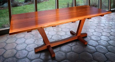 handmade salvaged redwood slab dining table by lutz