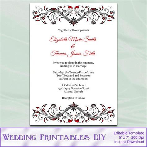 Red And Black Wedding Invitation Template Diy Birthday Bridal Shower Party Invites Printable Wedding Pdf Templates