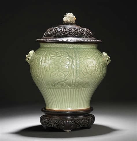 a large longquan celadon jar early ming dynasty alain r