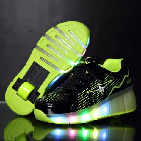 wheels light up shoes fashion children glowing sneakers kids roller skate shoes