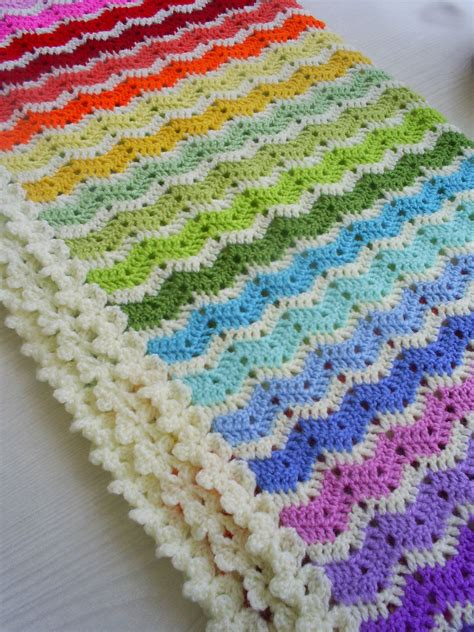 Rainbow Crochet Baby Blanket by The Rainbow Ajour Ripple Baby Blanket Afghan Afghans